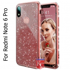 Beautiful Sparkly Bling Shinning Side Diamonds Glitter Case 2 in 1 Soft Transparent Back Cover for Mi Redmi Note 6 Pro – Rose Gold